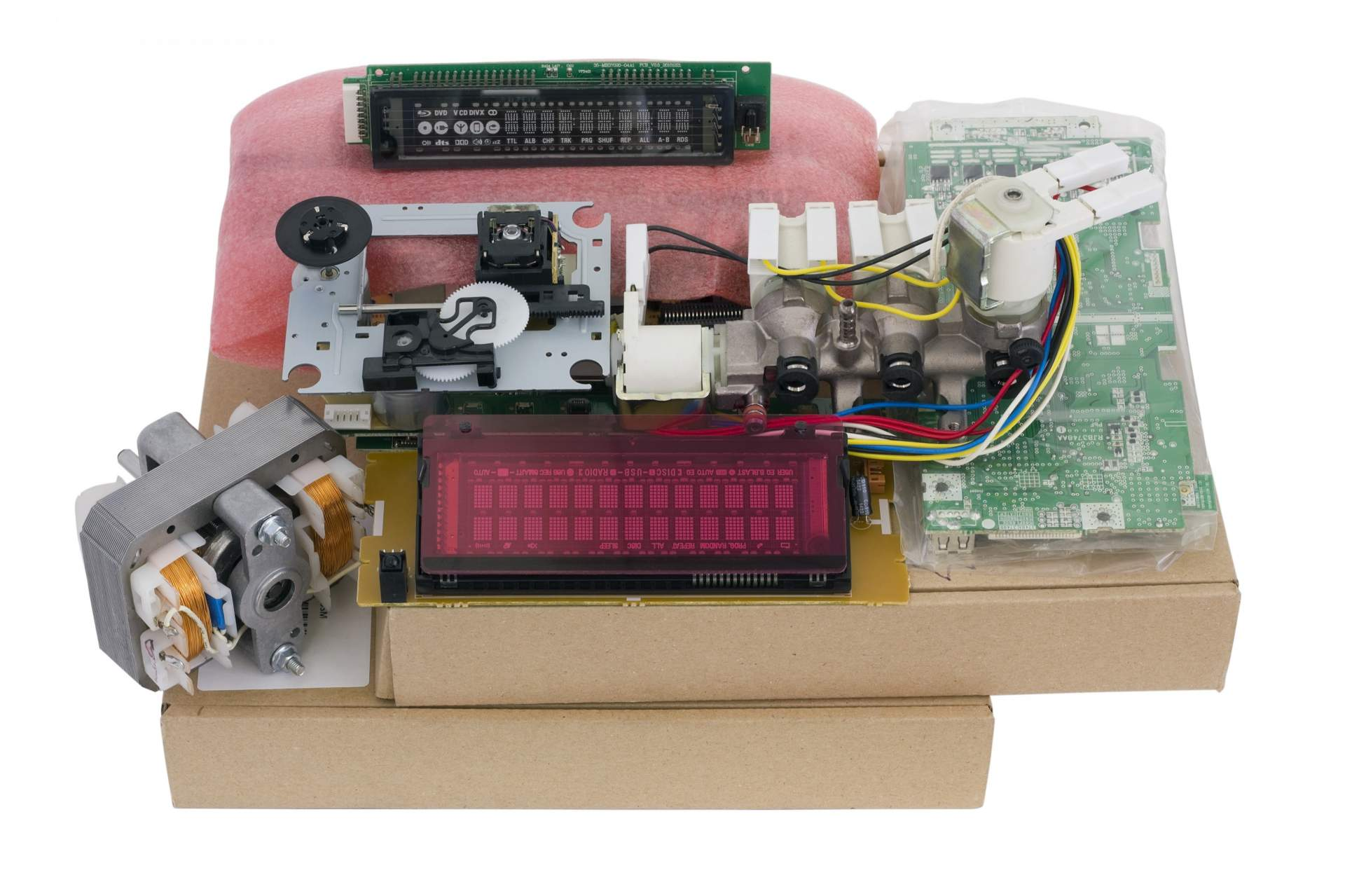 A variety of component electronic parts.